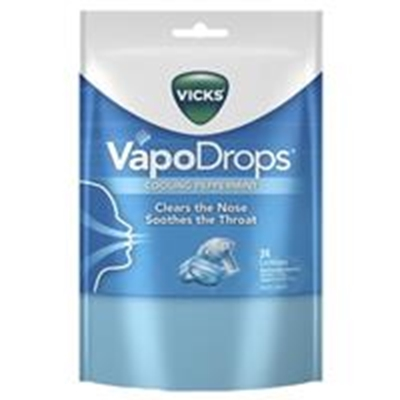 Vicks VapoDrops Blue Cooling Peppermint 24 Lozenges