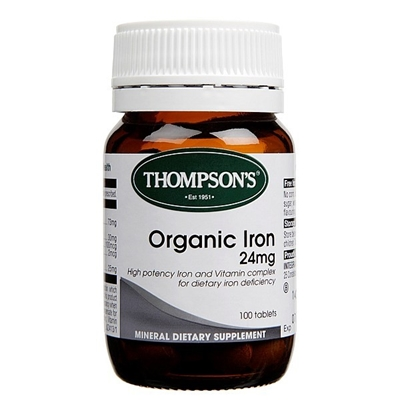 Thompsons Organic Iron 24mg 100 Tabs